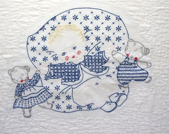 Vintage Embroidered Baby Blanket Good Night Sweet Dreams With Baby & Bears 1940's