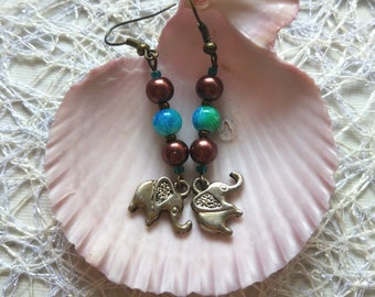 Boho bronze lucky indian elephant Earrings brown blue glass bronze azure jewelry for women happy birthday gift for girl gift for yourself