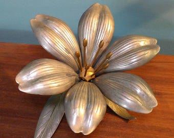 Vintage Pewter and Brass Flower Petal Ashtrays