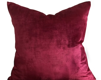 "22"" x 22"" Red Velvet Pillow Pillow Cover - Eastern Accents Velvet Pillow Cover"