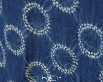 011 - Natural Hand Dyed Indigo Shibori Fabrics by Bio Method