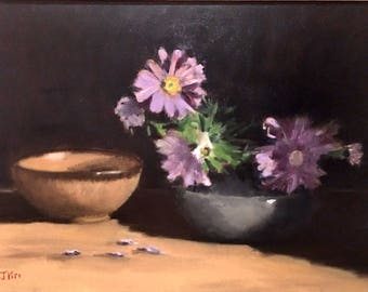Original Oil Painting On Canvas Still Life Chrysanthemums