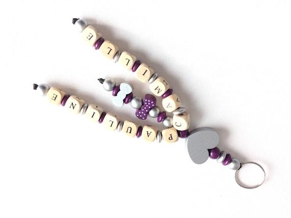 Porte cl s personnalisable perles en bois double prenoms - Porte cle perle ...