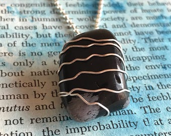 Snowflake Obsidian Stone Sterling Silver Wire Wrap Necklace