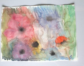 Watercolor flowers abstract - 30x40cm
