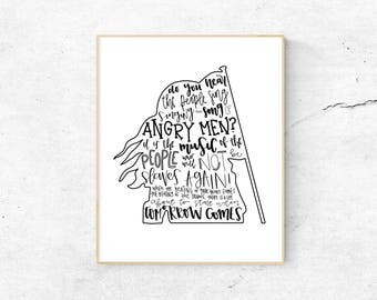 Les Miserables Musical Silhouette Print   Hand-Lettered   Black and White   Digital Download