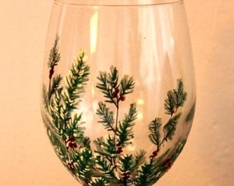 Winter Greens Hand Painted Wine Glass