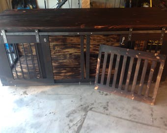 Double Dog Kennel with barn doors