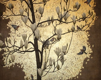Magnolia Tree with Chaffinches signed giclee print. Wall art, decor accessory, birds and flower art