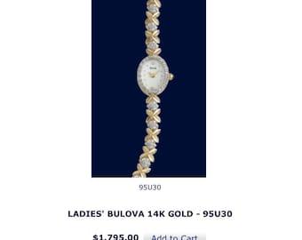 Ladies Bulova 14k Gold Watch w/ Diamonds