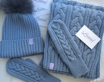 Set of knitted hat, scarf and mittens