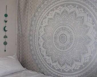Gray Ombre Tapestry Mandala Tapestry, Queen, Multi Color Indian Mandala Wall Art,