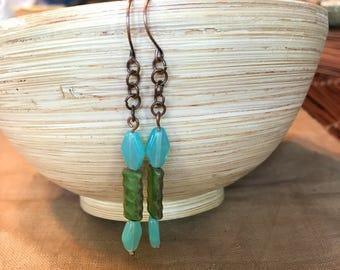Handmade Dangling Earrings featuring Vintage Beads