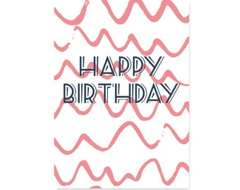 HAPPY BIRTHDAY Card! Pink Doodles Birthday Card 70s Birthday Card for her Girls Birthday Card A5 Original Handmade Pink Blank Card