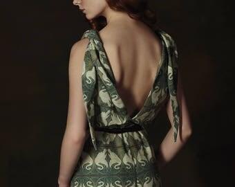Swan Princess jumpsuit, printed jumpsuit, green jumpsuit, up to the floor, chic jumpsuit, designer jumpsuit, special occasion, V-neckline