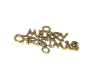 24 x 42mm Gold MERRY CHRISTMAS Link