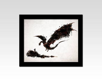 The Hobbit inspired Bilbo and Smaug watercolour effect print