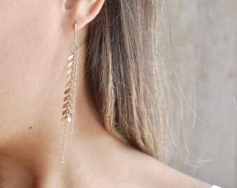 Chevron Chain Dangle Earrings // Gold Chevron Earrings // Drop Chain Earrings // Gifts for Her // Bridesmaid Gifts