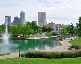 Indianapolis Skyline & Canal Photo Print