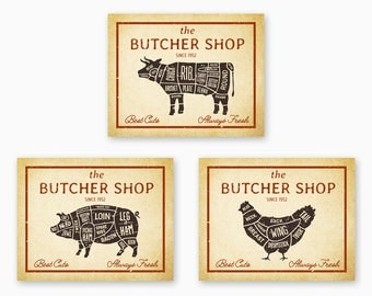 FARMHOUSE KITCHEN DECOR, Kitchen Printables, Farm Animals Wall Art, Rustic Butcher Signs, Country Decor, Vintage Kitchen, Instant Download