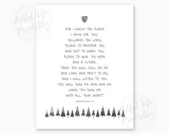 BIBLE VERSE JEREMIAH 29, For I Know the Plans I have for You, Nursery Printable, Woodlands Nursery, Baby Shower Gift, Instant Download