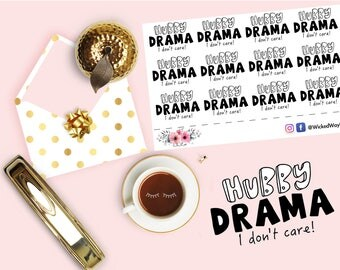 Hubby Drama Stickers, Drama Planner Sticker, Relationship Sticker, I Don't Care Sticker, Adult Sticker, Planner Stationary Accessory