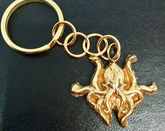 Pure Bronze H.P. Lovecraft Cthulu-inspired Keychain Keyring
