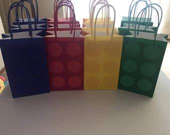 Lego favor bags..Lego goodie bags..Lego birthday party bags..Lego bags...Lego party bags..Lego candy bags..set of 12