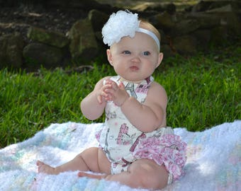 Baby Romper, Ruffle Bum, Little Girl Romper, Baby Dress, Little Girl Dress, Spring Outfit, Paris, Pink/Silver Sparkle