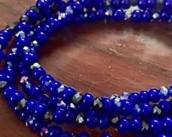 Saphhire crystal beaded bracelet set