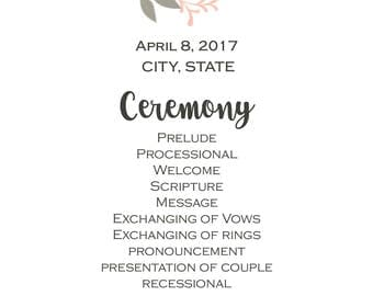 Custom Wedding Ceremony Program