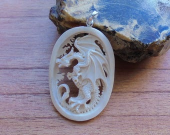 Hand Carved Dragon Bone Pendant, Bali Bone Carving P30