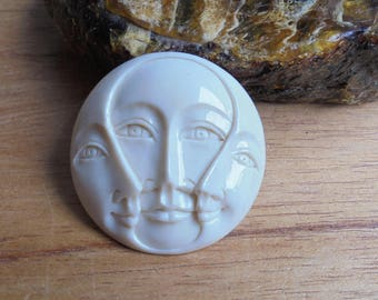 35 mm Moon Face Pendant, Triple Face Bead, Bali Bone Carving Jewelry MF 16NP2