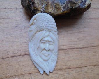 Raven Indian Bone Pendant, Bali Bone Carving P406