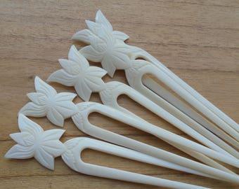 Flower Bone Hair Sticks, Hair Pin, Bone Hair Fork, 2 Prongs Hair Accessories HS48