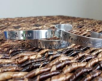 "hand stamped ""bee"" bracelets (be kind/fearless/grateful)"