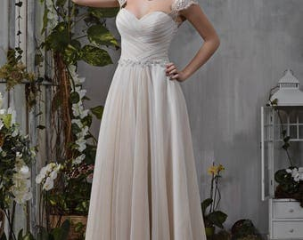 Wedding dress Empire dress Capuccino lace gathering beadwork wedding dress bride dress STELLA