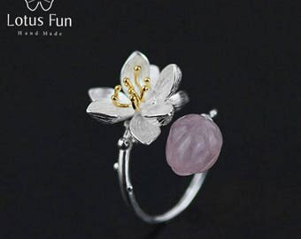 925 Sterling Silver Natural Rose Quartz Handmade Fine Jewelry Flower Ring Lotus Whispers Rings