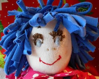 Handmade Blue Hair Rag Doll