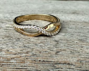Natural Diamond Infinity Ring in 14k Gold, Wedding Band , Engagement Ring , Promise Ring