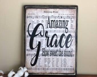 Amazing Grace Sheet Music - Vintage Sheet Music Art-Hymn Wall Decor- Christmas gift for mom - Wood Wall Art-Hymn Page Decor -christmas gift