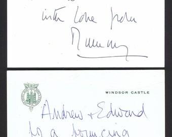 "Queen Elizabeth II Hand written ""Andrew with Love from Mummy"" on Windsor Castle."