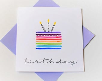 birthday card|cake|candles|handmade|card for him|card for her|blank greetings card