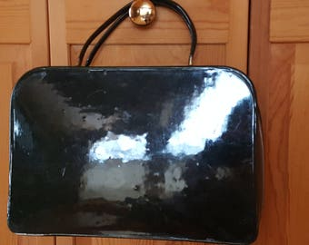 Vintage Patent Leather Travel Cosmetic Case
