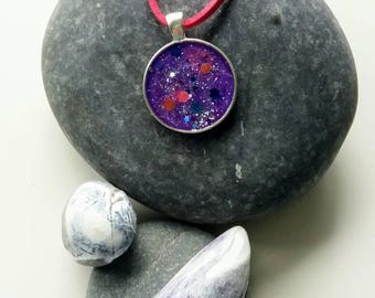 Purple necklace, glittery circular pendant, pendant necklace, purple sparkle, gift for her, resin jewellery