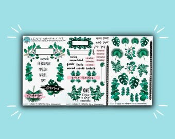 Leafy Monthly Kit | Monthly Planner Sticker | Bullet Journal Stickers | Stickers for Planners & Journals | Journaling Supplies