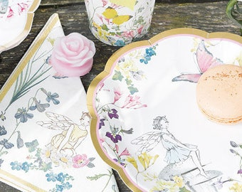 Fairy Paper Plates, Fairy Party Supplies, Fairy wedding, whimsical bridal baby shower, girls first birthday, garden tea party, Party Plates