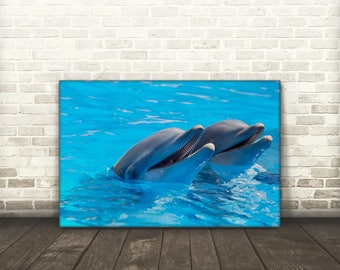 Two Happy Dolphins Canvas Art