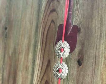 Red Double Concho Necklace
