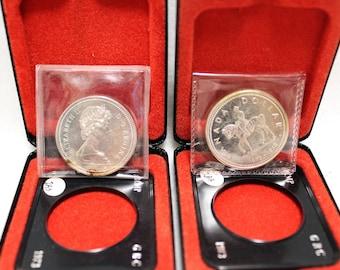 1973 Silver Elizabeth II Regina Dollar Coin Canadian Royal Mounted Police Centennial